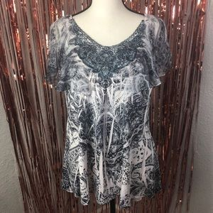 Cato embroidered lace flowy top xl